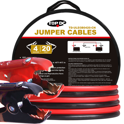 4GA x 20Ft 100% Copper Battery Jumper Cables