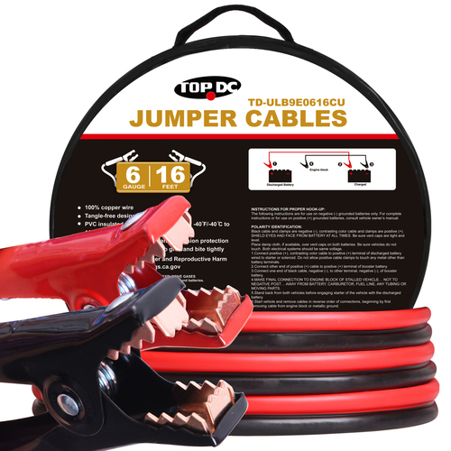 6GA x 16Ft 100% Copper Battery Jumper Cables